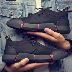 e72ffefd72897 All Black Men s leather casual Breathable Sneakers – Your True Stylez  Fashion Flats