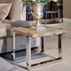 Maddox Reclaimed Elm Side Table in Living Room Reclaimed Wood Side Table, Rustic Side Table, Reclaimed Wood Coffee Table, Wooden Side Table, Rustic Coffee Tables, Reclaimed Wood Furniture, Round Coffee Table, Rustic Furniture, Side Tables