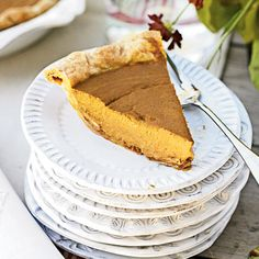 Pumpkin and Caramelized-Pecan Pie - Prep: 11 minutes; Cook: 45 minutes. This decadent pie has a nutritious side, too. It has more than a day's worth of vitamin A, plus it contains 3 grams of fiber.+