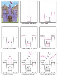 Draw a Midieval Castle There are many ways to draw a castle. Here's a step by step castle drawing with a fairy tale quality to it.