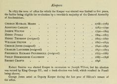 List of Keepers of the Royal Academy. 1768 - 1896. From The Royal Academy and its members 1768-1830 by Hodgson, J. E. (John Evan), 1831-1895; Eaton, Frederick Alexis Published 1905. Publisher London : John Murray