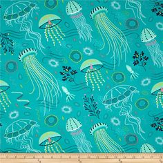 Michael Miller Into The Deep Tropical from @fabricdotcom  Designed by Patty Sloniger for Michael Miller, this cotton print fabric is perfect for quilting, craft projects, apparel and home decor accents. Colors include turquoise, navy, pink, coral, yellow, white and lime green.