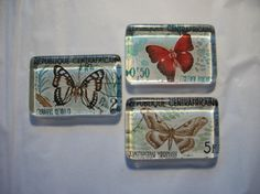 3 Butterfly Postage Stamp Glass Magnets from by BadCatCraft