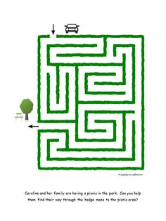 Help Caroline and her family find their way to the picnic area in this easy printable maze for kids. Maze Games For Kids, Math Activities For Kids, Mazes For Kids Printable, Free Printables, Kids Mazes, Dots And Boxes, Maze Worksheet, Free Preschool, Preschool Worksheets