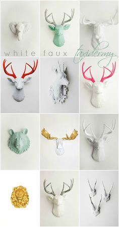 1-2-3-4-5-6-7-8-9-10-11-12  http://www.domesticpeacock.com/2012/12/17/white-faux-taxidermy/