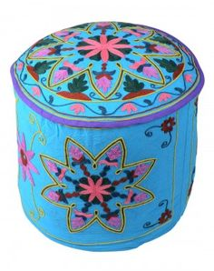 Buy Classic Floral Embroidered Cotton Sky Blue Round Pouf Cover online at just $52.45 from Rajrang.com.
