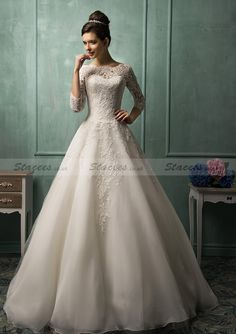 A-Line 3/4 Sleeve Bateau Appliqued Floor-Length Wedding Dresses