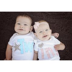 Boy Girl Twins bodysuits Light Blue and Pink ❤ liked on Polyvore featuring baby, twins and kids