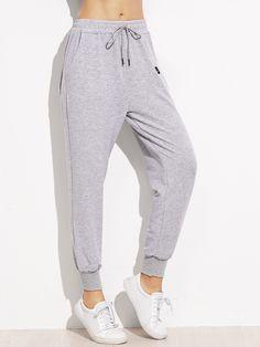 Pantalones con cordón en la cintura - negro-Spanish SheIn(Sheinside)  Pantalones Sueltos. Pantalones SueltosPantalones De ChándalRopa ... d6c9c75125bb
