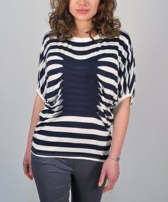 Another great find on #zulily! White & Navy Stripe Pleated Dolman Top by Premise Paris #zulilyfinds