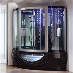 The new multifunction computerized massage steam room with built in heater pump, two hand-held showers, waterproof LCD TV, MP3 compatible input, 6 accupuncture massage jets, 6 adjustable water jets, 8 small water jets, radio, alarm and more.