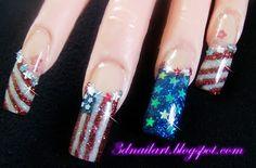 3D Nail Art: 4th of July nail art