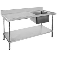 Merveilleux Commercial Stainless Steel Sink Bench U2013 FED Single Sink Bench Right With  304 Grade Stainless Steel Top And High With Splashbacks.