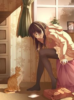 lovely manga girl with cat Anime Love, Sad Anime, Me Me Me Anime, Kawaii Anime, Anime Crying, Manga Anime, Art Manga, Manga Girl, Anime Girls