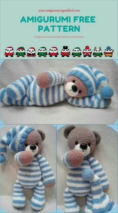 Amigurumi Bear in Pajamas Free Pattern - amigurumi. - Amigurumi Bear in Pajamas Free Pattern – amigurumi. Crochet Lion, Crochet Teddy, Knit Or Crochet, Cute Crochet, Crochet Amigurumi Free Patterns, Crochet Animal Patterns, Stuffed Animal Patterns, Knitting Patterns, Crochet Animals