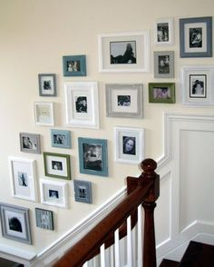 DIY Home : DIY Picture Frame Gallery Wall (diy wall decor) Love the Greys, blues and white color scheme! Frame Wall Collage, Gallery Wall Frames, Collage Picture Frames, Frames On Wall, Collage Ideas, White Frames, Gallery Walls, Painted Frames, Art Frames