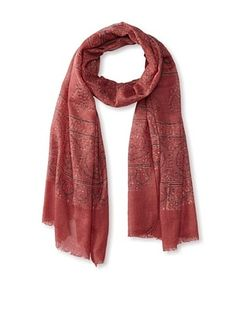 62% OFF MILA Trends Women's Hand Block Print Wool Scarf, Red Multi