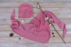 Купить Комплект шапочки и бактуса - бледно-розовый, комплект вязаный, комплект аксессуаров, Вязаный комплект