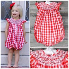 fd3e32a513011 Red Check Smocked Bubble by Smocked Auctions. So cute for a summer picnic  or the