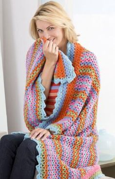 Free Crochet Pattern:  Could be really cute as a smaller shawl version.  It is very simple, but with fun colors could be such a spirit lifter!