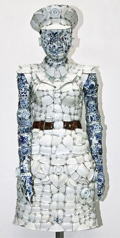 Porcelain clothes by Chinese artist Li Xiaofeng.