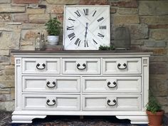 Farmhouse Style Dresser//Redone Dresser in Fusion Mineral paint Champlain with espresso wax and All In One Stain in Cappuccino & Driftwood //Home Decor// Fixer Upper// White Dresser//Stained Top