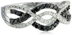 10k White Gold Black and White Diamond Waves Ring (1/2 cttw, I-J Color, I2-I3 Clarity), Size 6