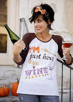 The Hair Bow Company | Thanksgiving I'm Just Here For the Wine Vintage Raglan Shirt for Women