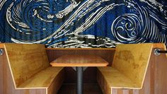 Booth mural in shipping container restaurant in Asheville, North Carolina  || Form & Function Architecture