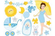 Pregnant Woman and Baby Boy Set by Tanita_B on @creativemarket