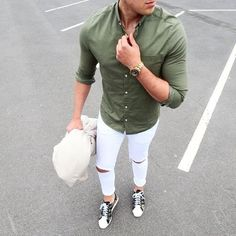 Ripped White Denim with Olive Shirt