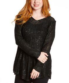 Look what I found on #zulily! Black & Silver Sequin Open-Weave Wool-Blend Sweater - Women #zulilyfinds