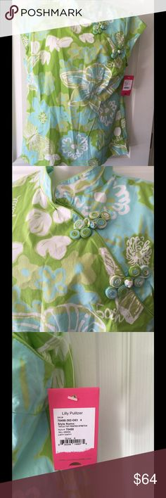 """NWT Lilly Pulitzer Blouse Cute Blues and Green Asian style button front Says 4 Measurements as looks bigger 16"""" across chest Length 26.5 from shoulder $118 retail Tops Blouses"""