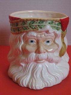 Vintage Ceramic Christmas Santa Head Planter House of by cyndeevs