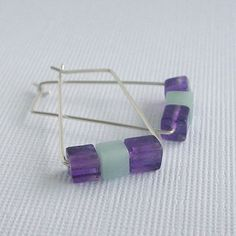 Amazonite and amethyst rectangle sterling silver square earrings -