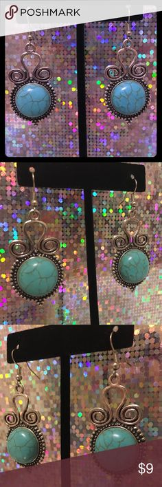 "Turquoise Earrings Turquoise Dangle Earrings Vintage look Approximately 1.25"" long from top of hook to bottom of earring   Excellent Condition   Ships within 24 hours except Sunday 💌 Jewelry Earrings"