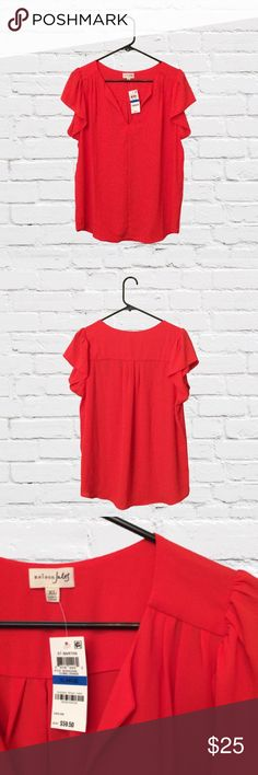 Cosmic Orange Maison Jules Blouse Perfect any day of the week, this ultra-versatile and uber-feminine top from Maison Jules is a chic yet effortless go-to featuring a split neckline, short flutter sleeves, and front seam detail. Machine washable polyester in color cosmic orange. Maison Jules Tops Blouses
