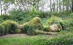 """""""When sleeping women wake, mountains move"""" ~Chinese proverb~  Sculpture in the lost gardens of Heligan, Cornwall"""