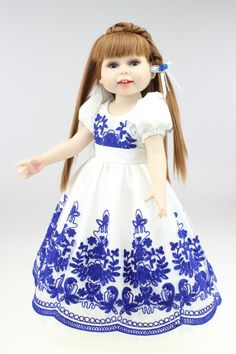 52.19$  Buy here - http://aliwgs.worldwells.pw/go.php?t=32662708201 - Popular 18inch Sweet American Girl Doll With Brown Long Hair Realistic Full Viniyl Silicone Reborn Baby For Kids Brinquedos Toy 52.19$