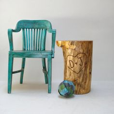 Great chair (not for sale) and fun rescued, personalized tree stump from Sherry and G.R. of Real Wood Works!