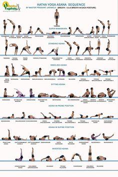 planche musculosquelettique comportant 42 asanas de yoga