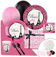 Ever-so stunning Paris Damask Value Party Pack. Great Ideas of Paris Damask Party Kits for Birthday at PartyBell. Paris Decor, Paris Theme, Parisian Baby Showers, Paris Birthday Parties, 10th Birthday, Birthday Ideas, Damask Party, Parisian Party, Girls Tea Party