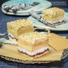 full recipe here: www.pl/sezam… sesame cake with coconut, cranberry jam and halva Polish Cake Recipe, Polish Recipes, Polish Food, Cranberry Jam, Cake Recipes, Dessert Recipes, Unique Desserts, Food Cakes, Sweet Treats