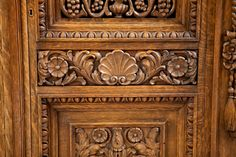 French Antique Four Door Carved Cabinet with Pierced Panels - Bonnin Ashley Antiques, Miami, FL