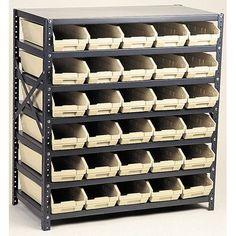 "Quantum Economy Shelf Storage Units with Bins Bin Color: Blue, Bin Dimensions: 4"" H x 8 3/8"" W x 17 7/8"" D (qty. 24)"