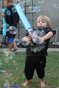 Pool Noodle Lightsabers - Destroy those bubbles!