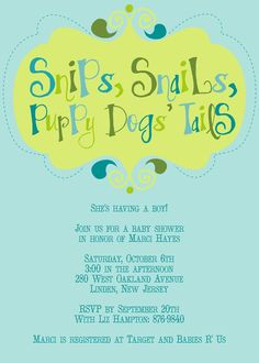 Snips and Snails Baby Shower Invitation