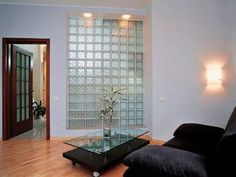 Glass Blocks Adding Sparkling Accents to Modern Home Designs Living Room Windows, Living Room With Fireplace, New Living Room, Glass Partition Designs, Glass Wall Design, Glass Blocks Wall, Glass Block Windows, Modern House Design, Modern Interior Design