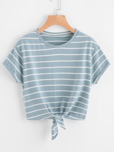 Shop Knot Front Cuffed Sleeve Striped Tee online. SheIn offers Knot Front Cuffed Sleeve Striped Tee & more to fit your fashionable needs.