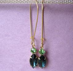 Swarovski Peridot and Vintage Sapphire. $10.00.  Oh pretty!  http://www.etsy.com/listing/119614728/swarovski-peridot-and-vintage-sapphire#